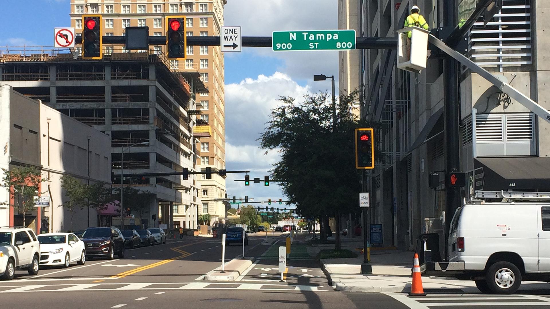 Cass Street Protected Bike Lane in Tampa, Florida